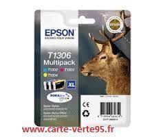 EPSON T1306 : multipack économique 3 cartouches encre couleur cyan, yellow, magenta grande capacité