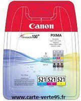 Pack de 3 cartouches encre couleur Canon CLI-521