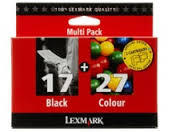Lexmark combo pack 2 cartouches originales encre noire N°17 et encre couleur N°27 80D2952